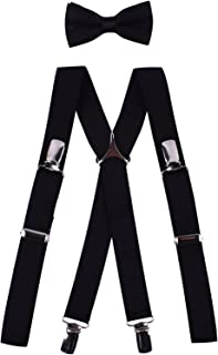 Boys Bow Tie and Suspenders Set Cute Suspender Trousers for Wedding Party Black