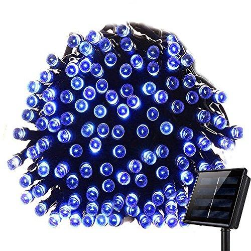 Guirlandes guirlande KEEDA 100 LED,39.37ft 8 Mode d'éclairage Lumières solaires extérieures imperméables, Lumières de jardin en plein air, Lumières fête Noël Éclairage étoilé Décoratif (Bleu)