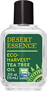 Desert Essence Eco-Harvest Tea Tree Oil - .5 Fl Oz - Therapeutic Pedicure - Helps Eliminate Dead Skin Cells - For Glowing, Softer Skin - Hair Care - Household Cleansing - Antiseptic - Skin Care