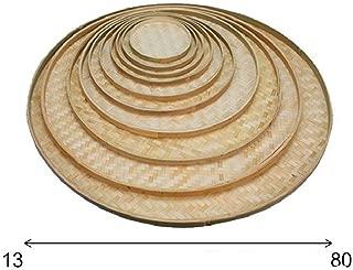 100% Handwoven Flat Wicker Round Fruit Basket Woven Food Storage Weaved Shallow Tray Bin Vegetable Organizer Holder Bowl Decorative Rack Display Kids DIY Art Drawing Board Tablet Paint (13cm)