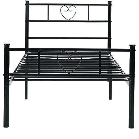 H.J WeDoo Lit Simple en métal 3ft Cadre en Forme de Coeur avec Grand Espace de Rangement pour Les Enfants ou Adultes 190 * 90, Noir