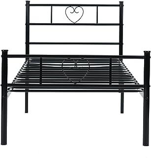 H.J WeDoo Lit Simple en métal 3ft Cadre en Forme de Coeur avec Grand Espace de Rangement pour Les Enfants ou Adultes 190 *...