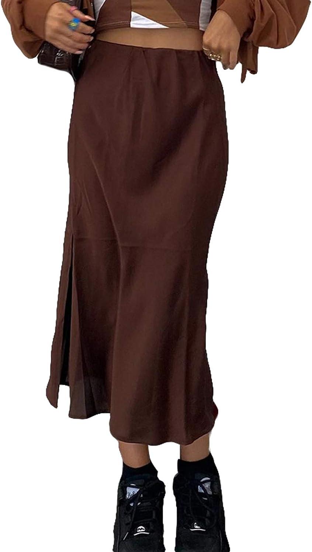 Women High Waist Midi Skirt Satin Lace Patchwork Goth Skirts Punk Dark Academia Y2K Gothic Clothes