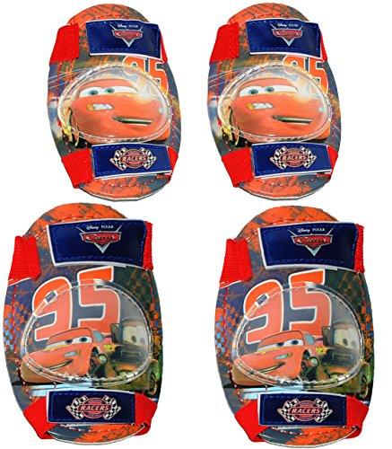 alles-meine.de GmbH 4 TLG. Set:  Disney Cars - Lightning McQueen  - Knieschützer + Ellenbogenschützer - für Circa 5 bis 12 Jahre - für Kinder - Gelenkschützer Knieschoner - AUT..