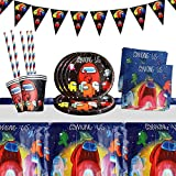 Juego de vajilla para fiestas, decoración de cumpleaños para niños, Among us fiestas de cumpleaños infantiles, platos, tazas, servilletas, manteles, pajitas, banners (52 piezas)