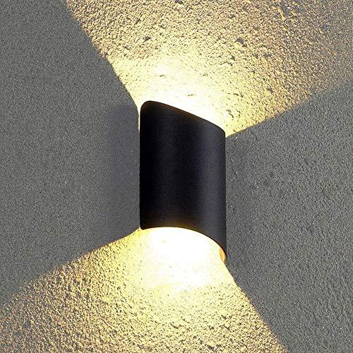 DFBGL Apliques Iluminación de Pared LED 10W Lámparas de Pared Exterior Interior Luz de Pared de Aluminio Negro Foco de iluminación de Arriba hacia Abajo Luces Exteriores Impermeable IP65