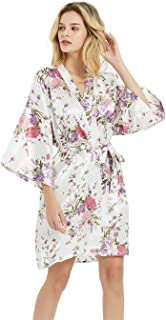 Women's Floral Bridesmaid Robes Short Satin Robes for Bridal Party Wedding