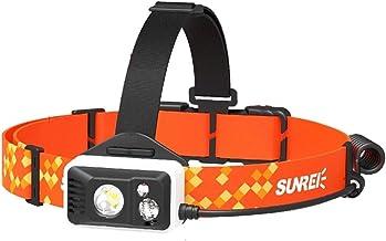 Koplamp Run Koplamp Batterij Oplaadbare Night Running Off-road Fietsen Fiets voor Camping Torch LED Zaklamp (Kleur: Oranje)