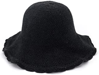 MZHHAOAN Knit Hat Autumn and Winter Korean Version of The Basin Cap Fisherman Cap Foldable Simple Warm Line Cap,Red Wine,One Size