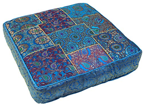 Guru-Shop Orientalisches Eckiges Patchwork Kissen 40 cm, Sitzkissen, Bodenkissen mit Baumwollfüllung - Blau, Synthetisch, Zierkissen, Dekokissen, Sofakissen