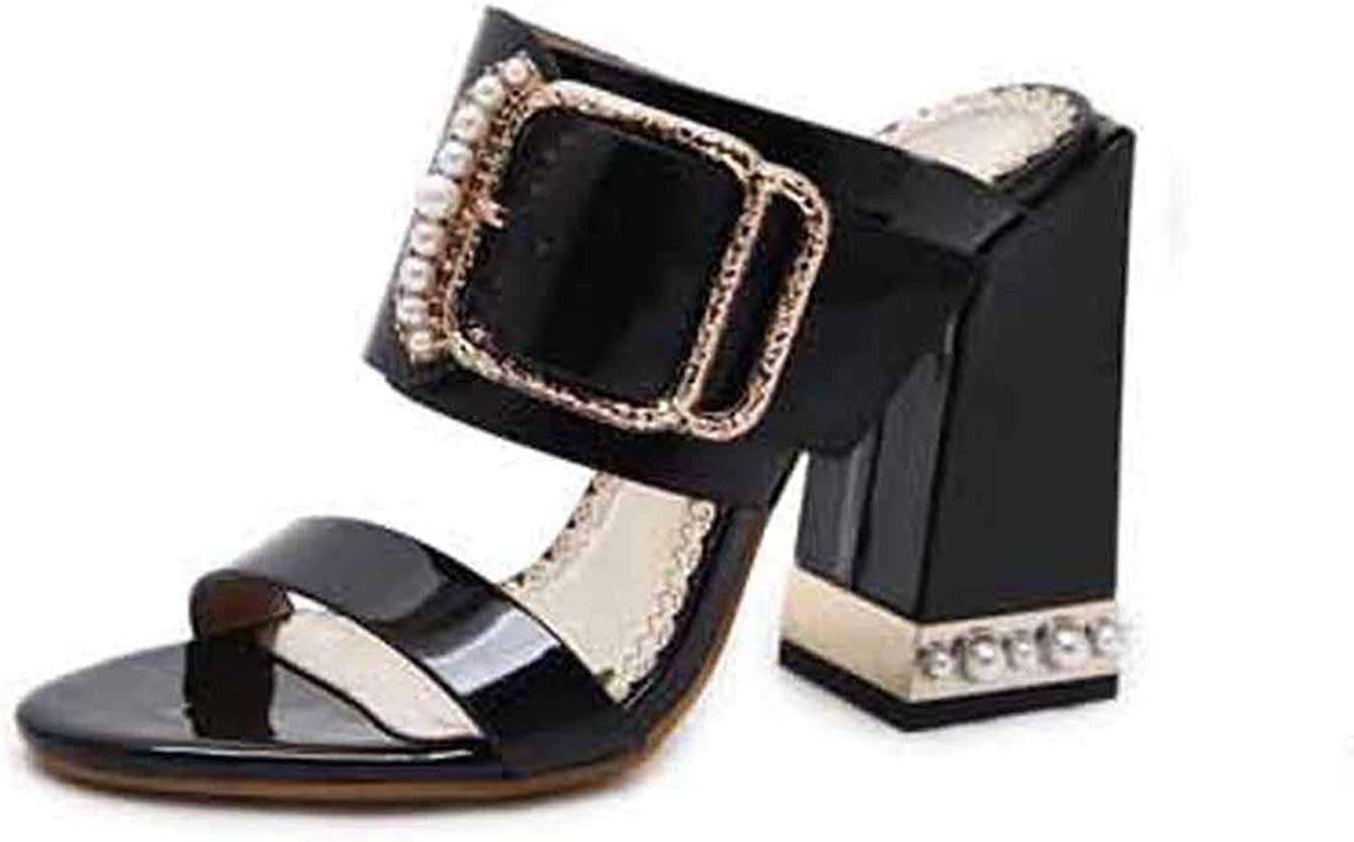 Sexy Crystal Buckle Square Heel Women Slippers Sandals Size 34-40 Apricot Black