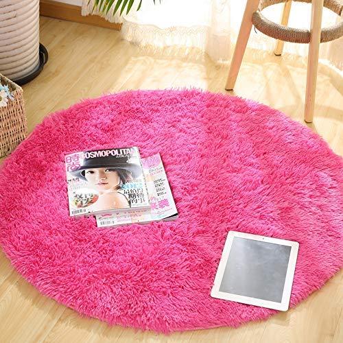 YFF Alfombra redonda de color, cable simple, lana mate, dormitorio, escritorio, cesta...