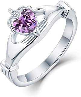 JO WISDOM 925 Sterling Silver Cubic Zirconia Rose Gold Claddagh Heart Promise Rings for Her,birthstone rings for Women