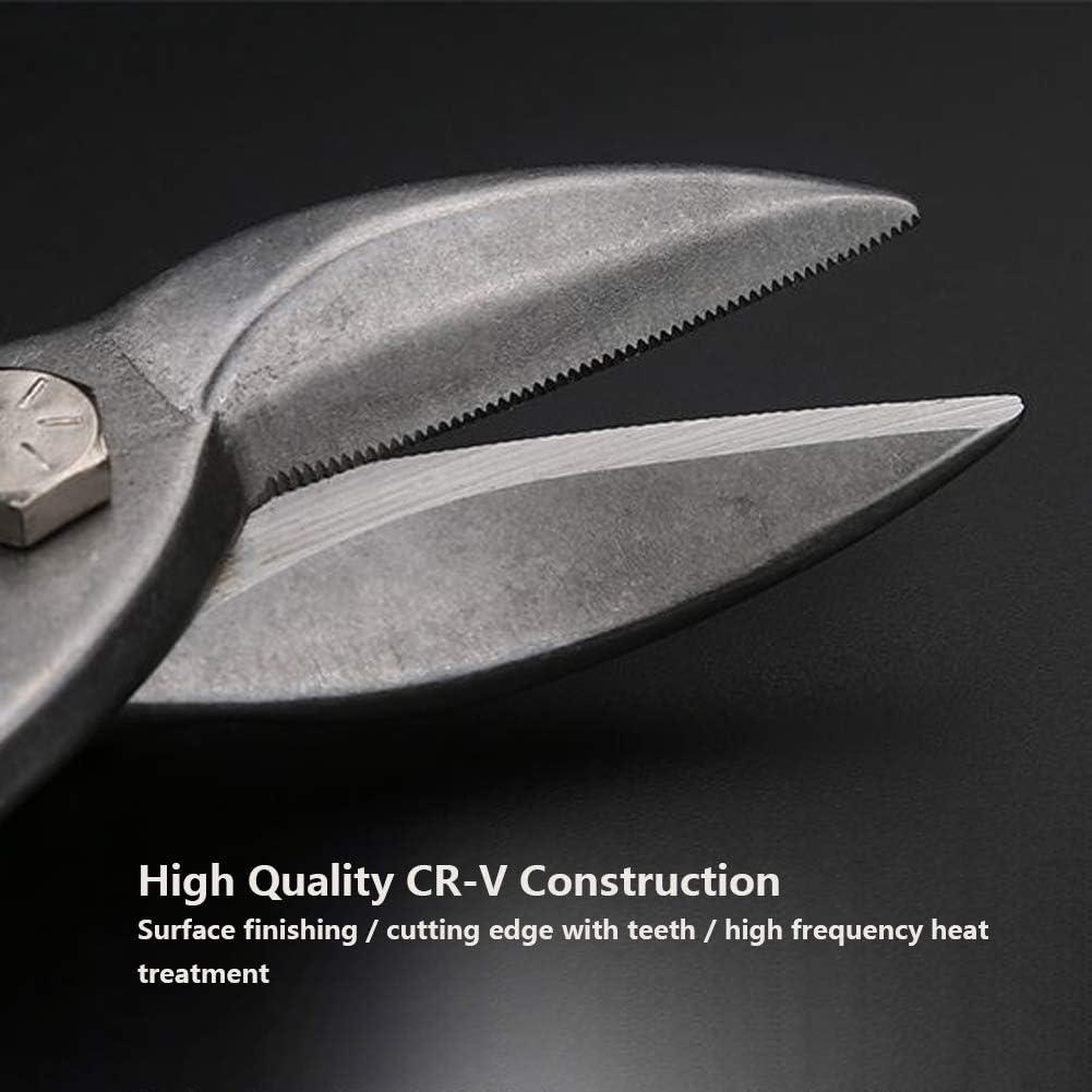 Higher Hardness Safe Storage Right Cutting Tin Snip S TPR Durable Sheet Chrome Vanadium Steel Straight cut aviation scissors