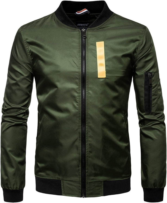 Men's Stand Collar Long Sleeve Casual Jacket Windbreaker Zipper Outwear Jackets Coat (color   Green, Size   L)