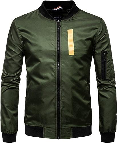Fjubjv la Veste de la Mode Masculine Un col de Chemise Couleur,armée vert,2XL
