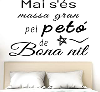 "Docliick® Vinilo Frase Catalán""MAI S'ÉS MASSA GRAN."" Vinilos decorativos Pegatina de pared adhesiva removible con frase de..."