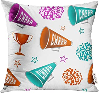 UPOOS Throw Pillow Cover Pink Pom Cheerleading with Pompoms Cup Stars and Megaphones Cheerleader Cheer Decorative Pillow Case Home Decor Square 20x20 Inches Pillowcase