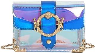 TENDYCOCO Women Transparent Candy Color Beach Handbag Jelly Bag Girls Mini Chain Shoulder Bag Crossbody Bags Messenger Bag Purse - Blue