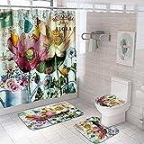 4-teiliges Blumen-Duschvorhang-Set mit Teppichen, WC-Deckelbezug, Badematte, Blumen-Duschvorhang mit 12 Haken, Duschvorhang für Badezimmer (bunte große Blumen)