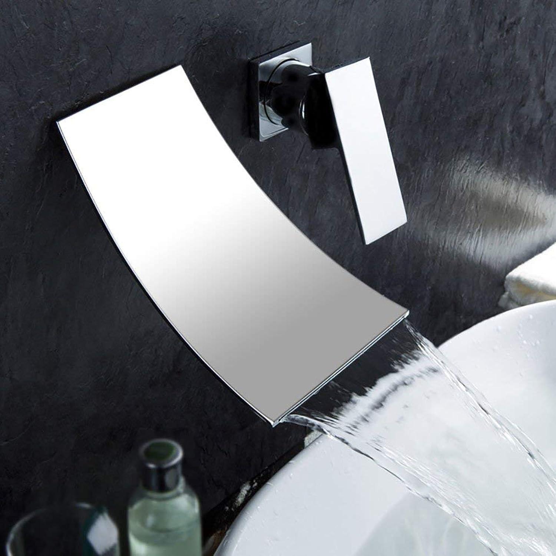 HTL Home Hotel Badezimmer, Waschbecken, Waschtischarmaturen, Wasserhahn-Wasserhahn Wall-In All Copper Hot und Cold Waterfall Bad Wasserhahn Silber, Spültischmischer Wasserhahn