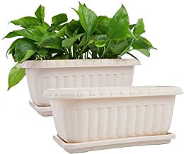 Mkono 2 Pack Rectangular Planter Window Box 15 Inches Plastic Garden Pot with Saucers, Beige