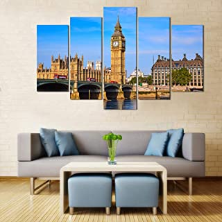 WENS Velvet Laminated Big Ben London Framed 5 Panels Wall Art(24x40 Inch)
