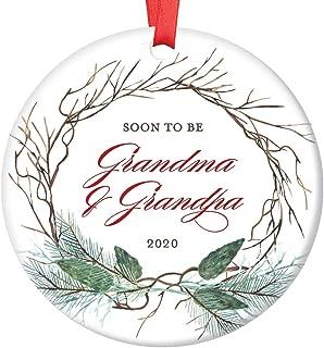 Pregnancy Announcement Christmas Ornament New Grandma & Grandpa 2020 Surprise New Grandparents Baby Due 2020 Pretty Holiday 3