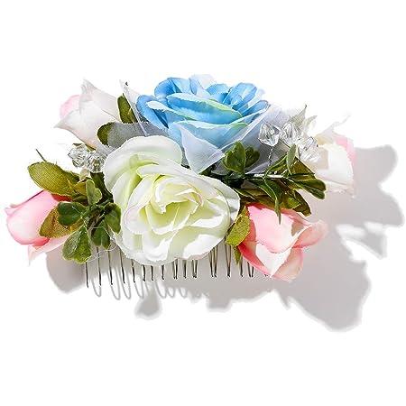 Peineta de flores. Novia, invitada. Flores sintéticas. Peine de plástico. (Azul)
