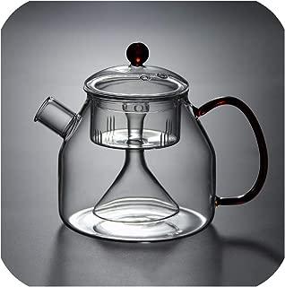 1250ml High Capacity Heat resistant glass Teapots Electric Ceramic Heaters Tea Pot Lemon Flower Tea Kettle Accessories Drinkware,A