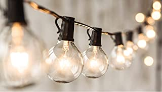 24 FT G50 String Lights with 20 Globe Bulbs- for Indoor/Outdoor Decor, Wedding Lights, Patio Lights, Outdoor String Lights, Globe Lights, Backyard Lights, for Market Cafe Gazebo Porch Party ,Black