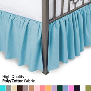 Ruffled Bed Skirt with Split Corners - Queen, Aqua, 18 Inch Drop Bedskirt (Available in and 16 Colors) Dust Ruffle.