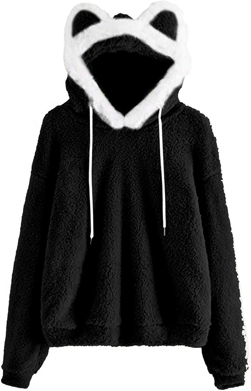 Genuine MmNote Women's Casual Sweatshirts Cute Fleece Ear Long Sleeve Tucson Mall Pu