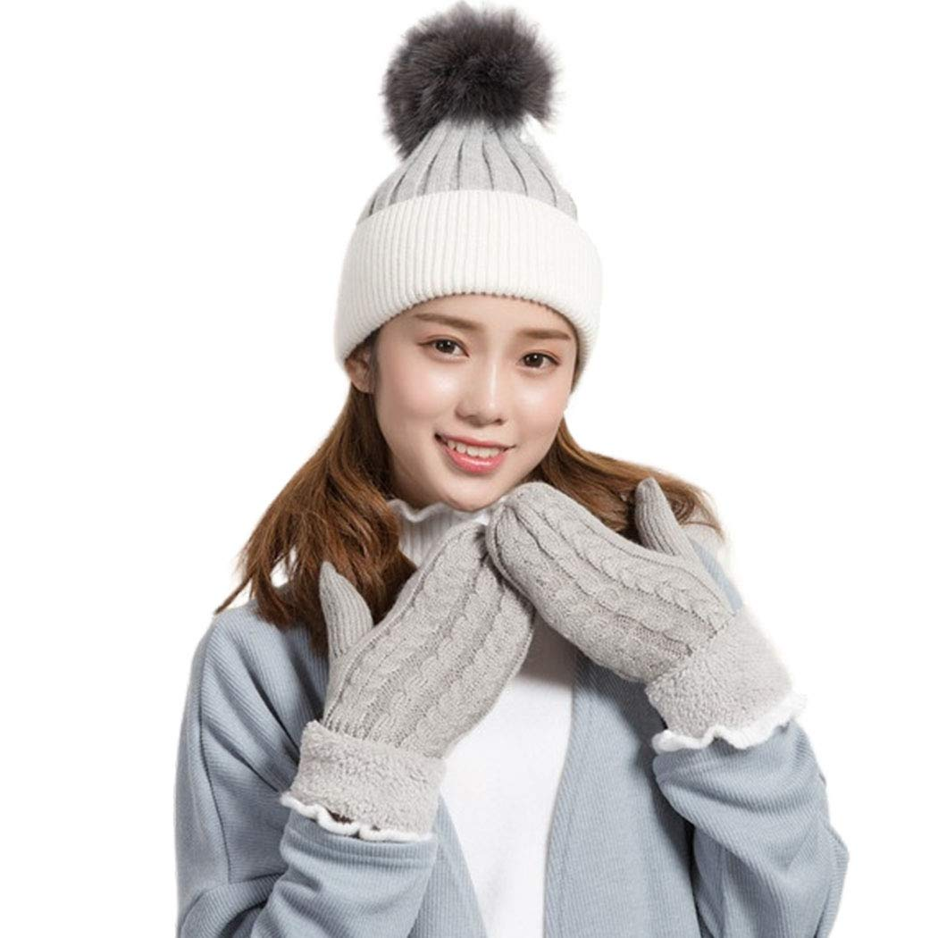 Outyua Winter Gloves Mittens for Women Warm Gloves with Warm Winter Wool Knit Thick Gloves Touch Screen Cold Weather Glove for Women and Girls 2Pack (Grey)