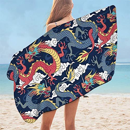 Toalla de baño de dragón, impresión colorida para niños, toalla de ducha de microfibra suave, 75 cm x 150 cm