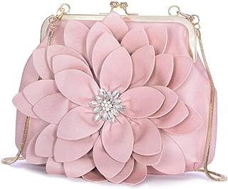 Women's Large-Capacity Clutch Bag Shell Fashion Chain Shoulder Bag Diamond Flower Shoulder Bag Candys house (Color : Pink, Size : 23 * 6 * 18cm)