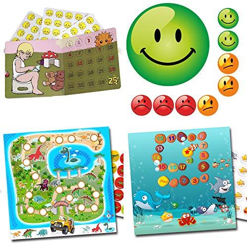 Kinderbeloningssysteem potje training Magic Potty + dinos + aquarium + smiley set 3 kleuren