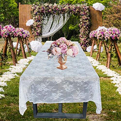 Awtlife Klassische weiße Spitzen-Tischdecken für Hochzeiten, Dekorationen, Duschen, Rosen, bestickt, 150 x 300 cm