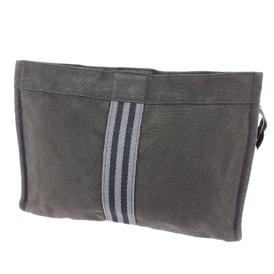 病な我慢する失業(エルメス) Hermès クラッチバッグ セカンドバッグ ポーチ ブラック グレー 灰色 フールトゥ レディース メンズ 可 中古 T6810