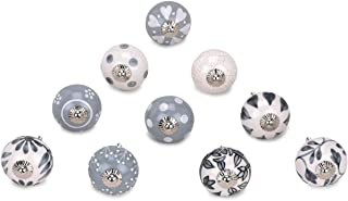GroupB Ceramic Material Hand Painted Cabinet Door Knob for Cupboard & Drawer Mix Design Grey, White and Black Color - Pack...