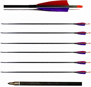 Archery Carbon Arrows 29 Inch Target/Hunting 340 Spine Real Feather (6 Pack) for Omni Nocks Recurve Compound Bows