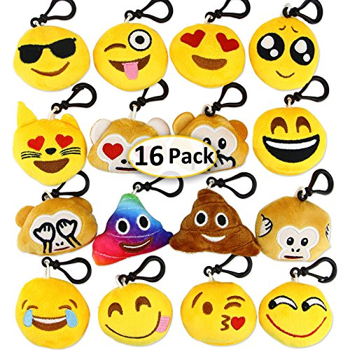 Dreampark Emoji Keychain Mini Cute Plush Pillows Kids Party Supplies Favors, Emoticon Key Chain Toy Kids Prize Valentines Gifts, 2