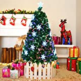 COSTWAY Fibre Optic Christmas Tree, Artificial Green Xmas Tree with Metal...