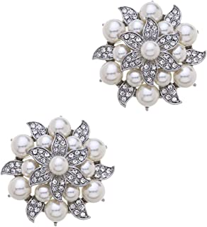 Casualfashion 2Pcs Fashion Rhinestones Pearls Flowers Crystals Wedding Party Shoe Clips (Silver)
