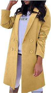 Women Solid Overcoat Coat, Ladies Turn Down Collar Long Sleeve Button Long Outwear Winter