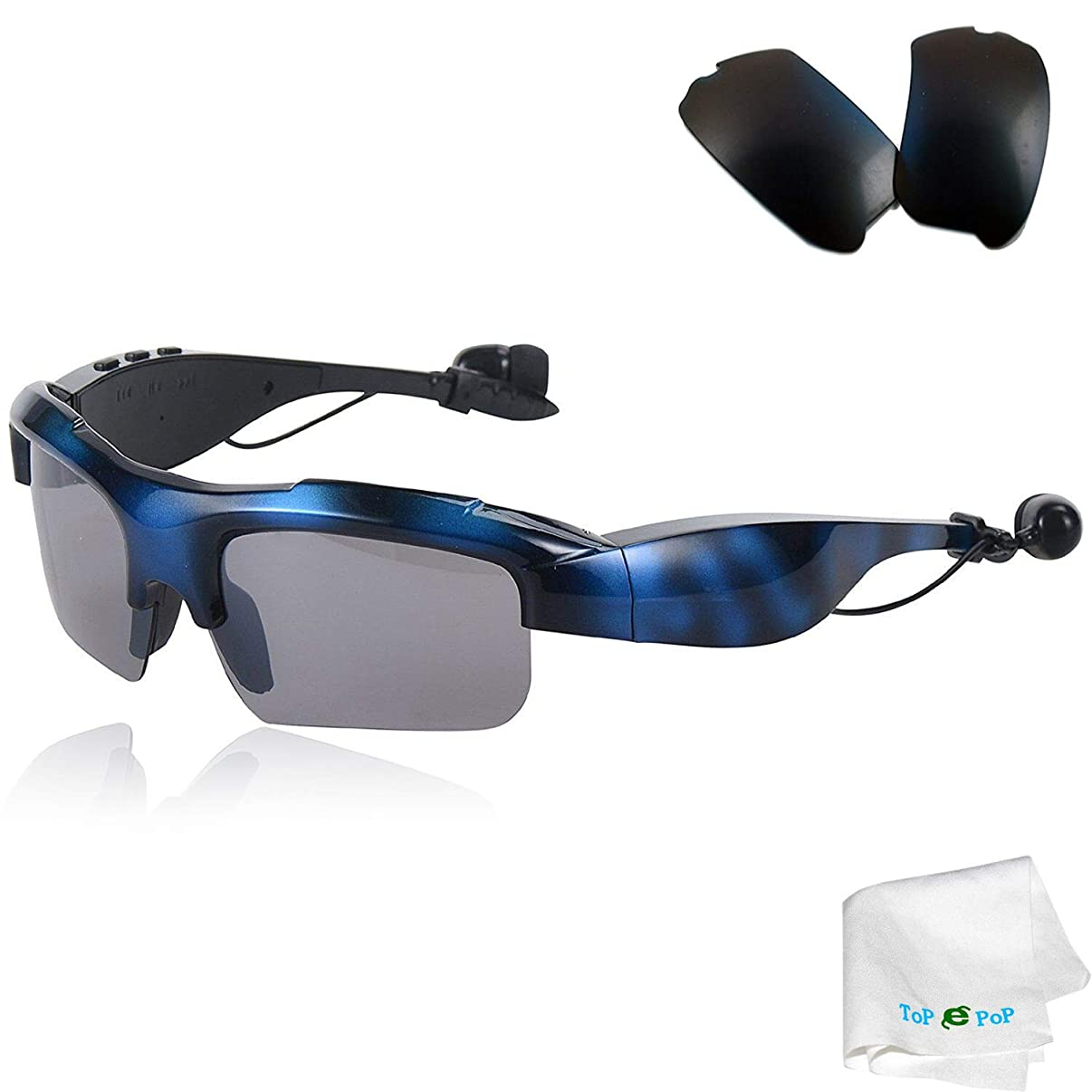 Bluetooth Sunglasses Wireless Sport Glasses Stereo Music Sunglasses Headset Headphones with Replacement Polarized Lens Compatible with Men Women Samsung Galaxy S9 S8 S7 S6 Huawei Alcatel Blue