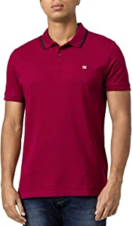 Calvin Klein Jeans Men's TIPPING BADGE PIMA STRETCH POLO Polos, Purple (Beet Red VAQ), Large