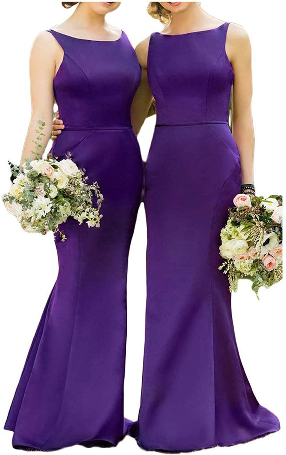 Ruisha Women Satin Mermaid Sexy Bridesmaid Dresses Long Formal Prom Dresses Party Gown RS0259