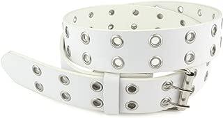 Double Grommet Leather Belt - PU Leather - Double Prong Belt Buckle - 2 Hole Grommet Belt for Women or Men by Belle Donne