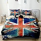 Funda nórdica beige, bandera de Union Jack envejecida extremadamente grungy angustiada de Gran Bretaña País británico, juego de cama de microfibra impresa de calidad de 3 piezas, diseño moderno con su